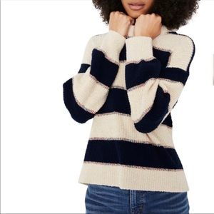 New Madewell Lakeville Stripe Pullover Sweater L